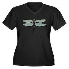 Dragonfly Women's Plus Size V-Neck Dark T-Shirt