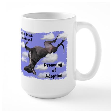 Black Greyhound Dreaming of Adoption Large Mug