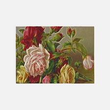 Vintage Flowers 5'x7'Area Rug