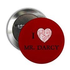 """Red """"I HEART MR. DARCY"""" 2.25"""" Button (10 pack)"""