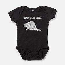 Distressed Beaver Silhouette (Custom) Baby Bodysui
