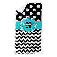 Black Teal Dots Chevron Personalized Beach Towel