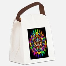 Aztec Warrior Mask Rainbow Colors Canvas Lunch Bag