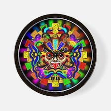 Aztec Warrior Mask Rainbow Colors Wall Clock