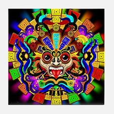 Aztec Warrior Mask Rainbow Colors Tile Coaster