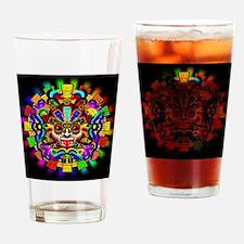 Aztec Warrior Mask Rainbow Colors Drinking Glass