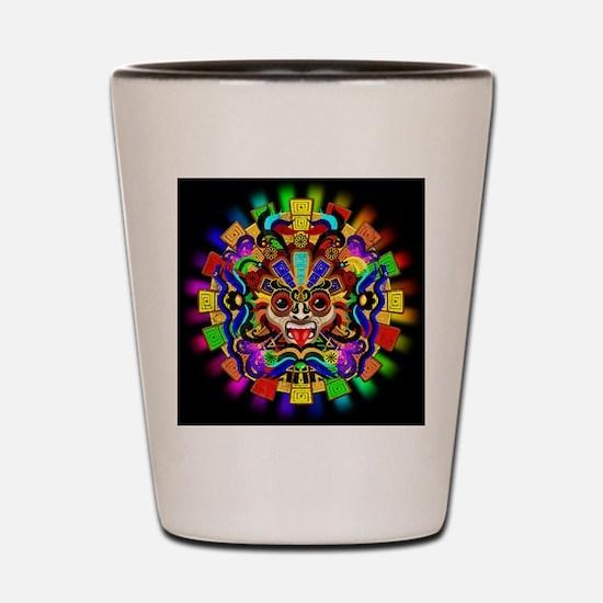 Aztec Warrior Mask Rainbow Colors Shot Glass