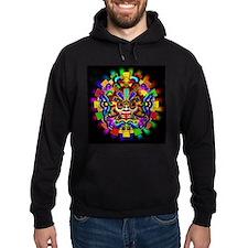 Aztec Warrior Mask Rainbow Colors Hoodie