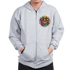 Aztec Warrior Mask Rainbow Colors Zip Hoodie