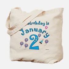 January 2nd Birthday Tote Bag