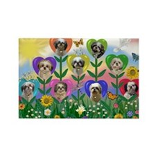 Shih Tzu Heart Garden Rectangle Magnet
