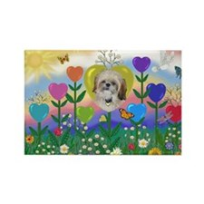 Shih Tzu Heart Flower Rectangle Magnet