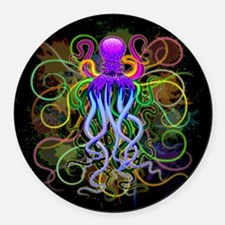 Octopus Psychedelic Luminescence Round Car Magnet