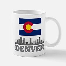 Denver Colorado Flag Skyline Mugs