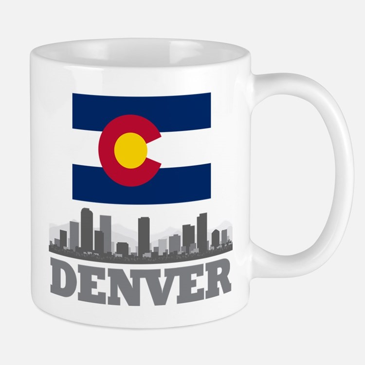 Denver Colorado Flag Skyline Mugs