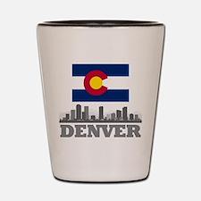 Denver Colorado Flag Skyline Shot Glass