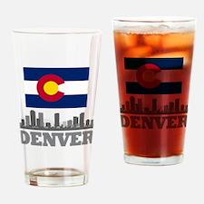 Denver Colorado Flag Skyline Drinking Glass