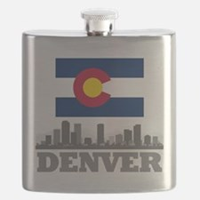Denver Colorado Flag Skyline Flask