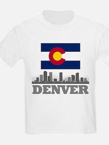 Denver Colorado Flag Skyline T-Shirt