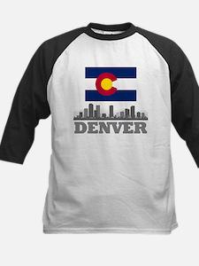Denver Colorado Flag Skyline Baseball Jersey