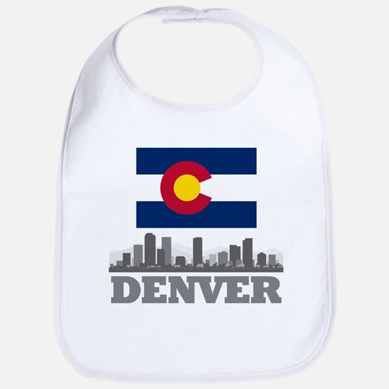 Denver Colorado Flag Skyline Bib