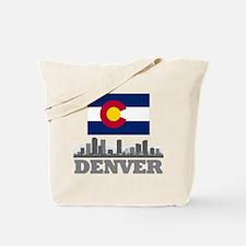 Denver Colorado Flag Skyline Tote Bag
