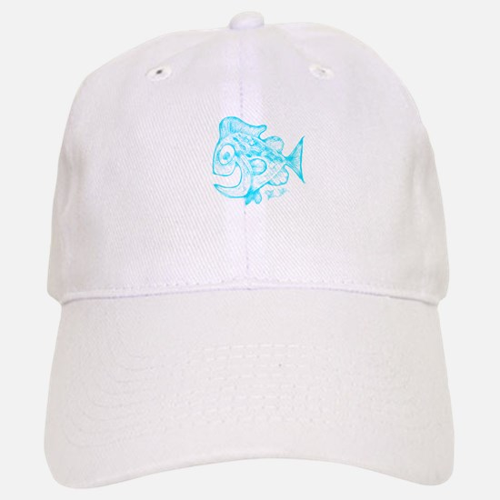 Happy Fish Abstract Art blue Baseball Baseball Cap