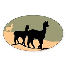 Alpacas Hillside Oval Decal