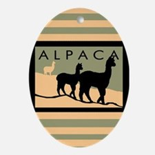 Alpacas Hillside Oval Ornament
