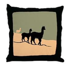 Alpacas Hillside Throw Pillow