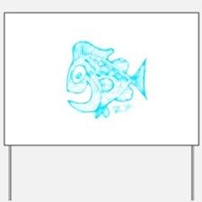 Happy Fish Abstract Art blue Yard Sign
