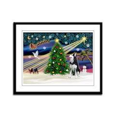 XmasMagic/Siberian Husky Framed Panel Print