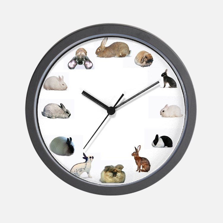 Cute Dutch rabbits Wall Clock