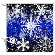 Cute Silver snowflake Shower Curtain