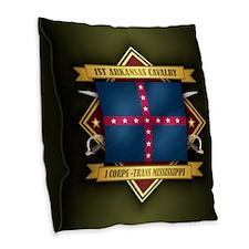 1st Arkansas Cavalry Burlap Throw Pillow