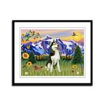 Mt Country & Husky Framed Panel Print