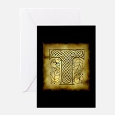 Celtic Letter T Greeting Card