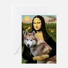 Mona & her Red Husky Greeting Card