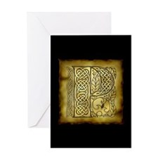Celtic Letter P Greeting Card