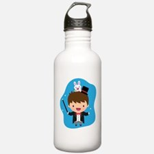 Cute Magician Boy and Bunny Sports Water Bottle