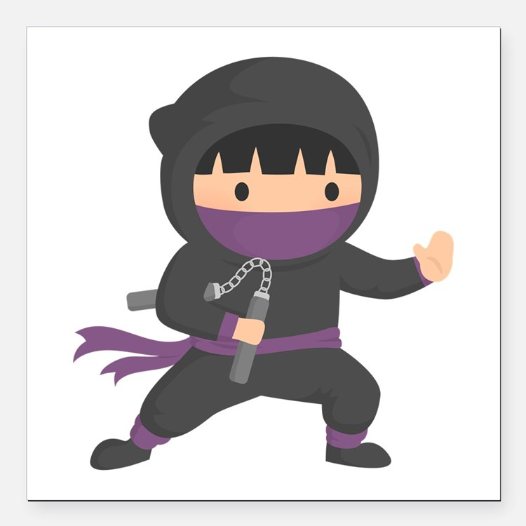 Cute Ninja with Nunchaku for Kids Square Car Magne
