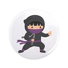 Cute Ninja with Nunchaku for Kids Button