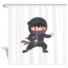 Cute Ninja with Nunchaku for Kids Shower Curtain