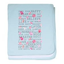 Romantic Rose Petals inspirational words baby blan