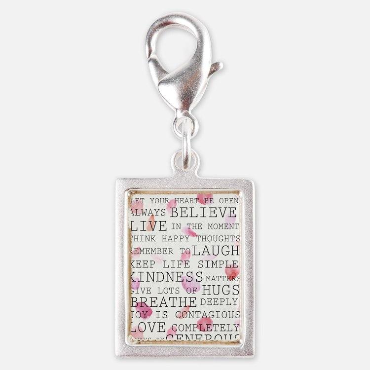 Romantic Rose Petals inspirational words Charms