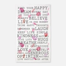 Romantic Rose Petals inspirational words Area Rug