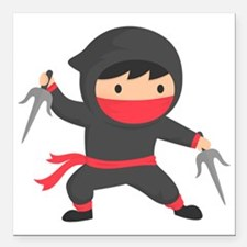 """Cute Ninja with Sai for Kids Square Car Magnet 3"""""""