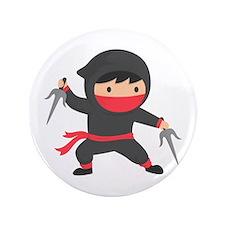 Cute Ninja with Sai for Kids Button