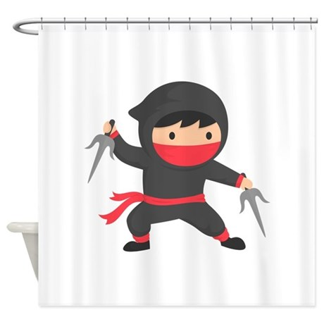 Cute Ninja With Sai For Kids Shower Curtain By