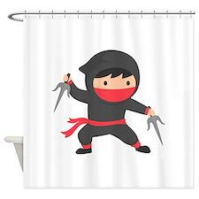 Cute Ninja with Sai for Kids Shower Curtain